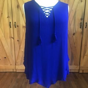 Royal blue sleeveless blouse